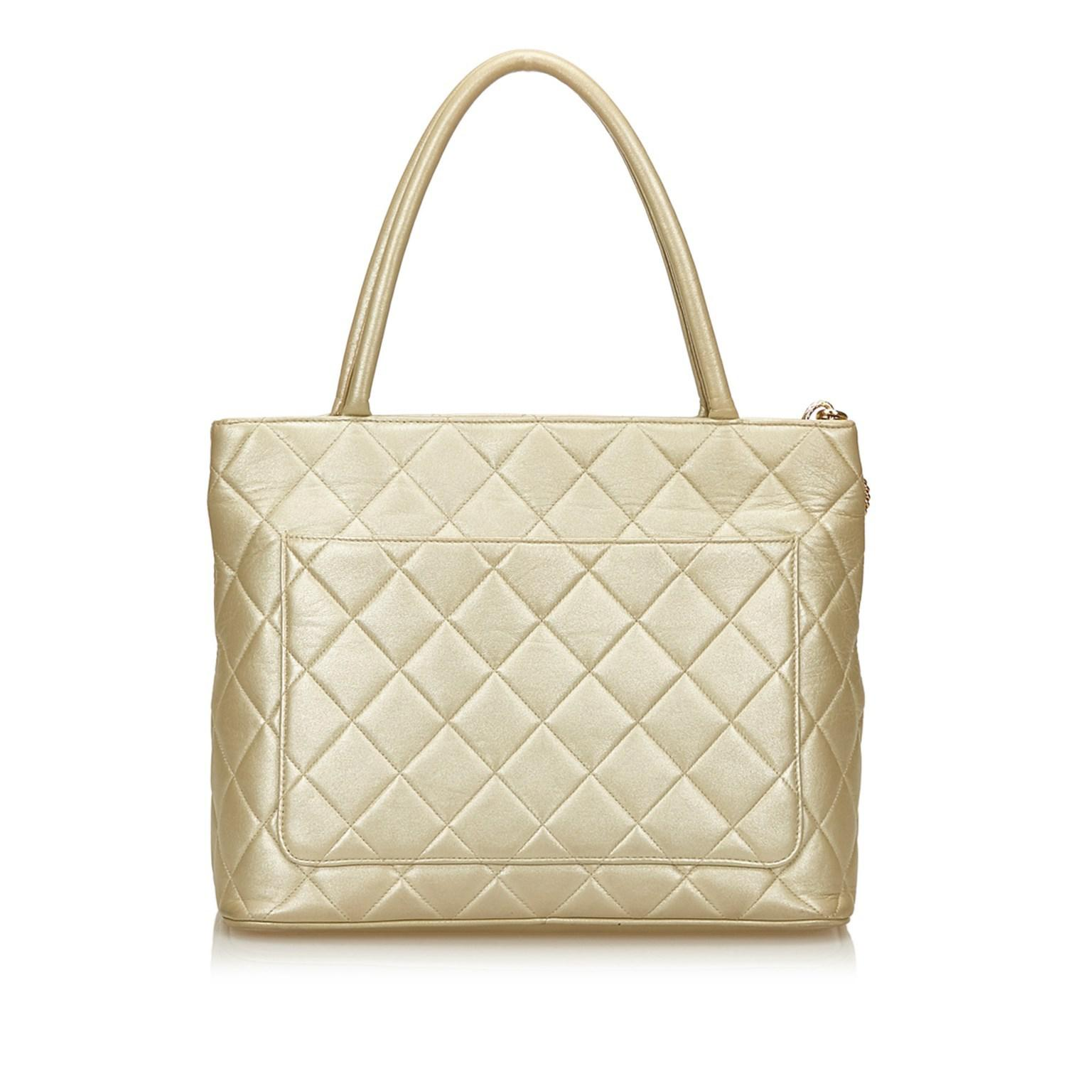 f6ccc23471b3 Lyst - Chanel Medallion Lambskin Tote in Metallic