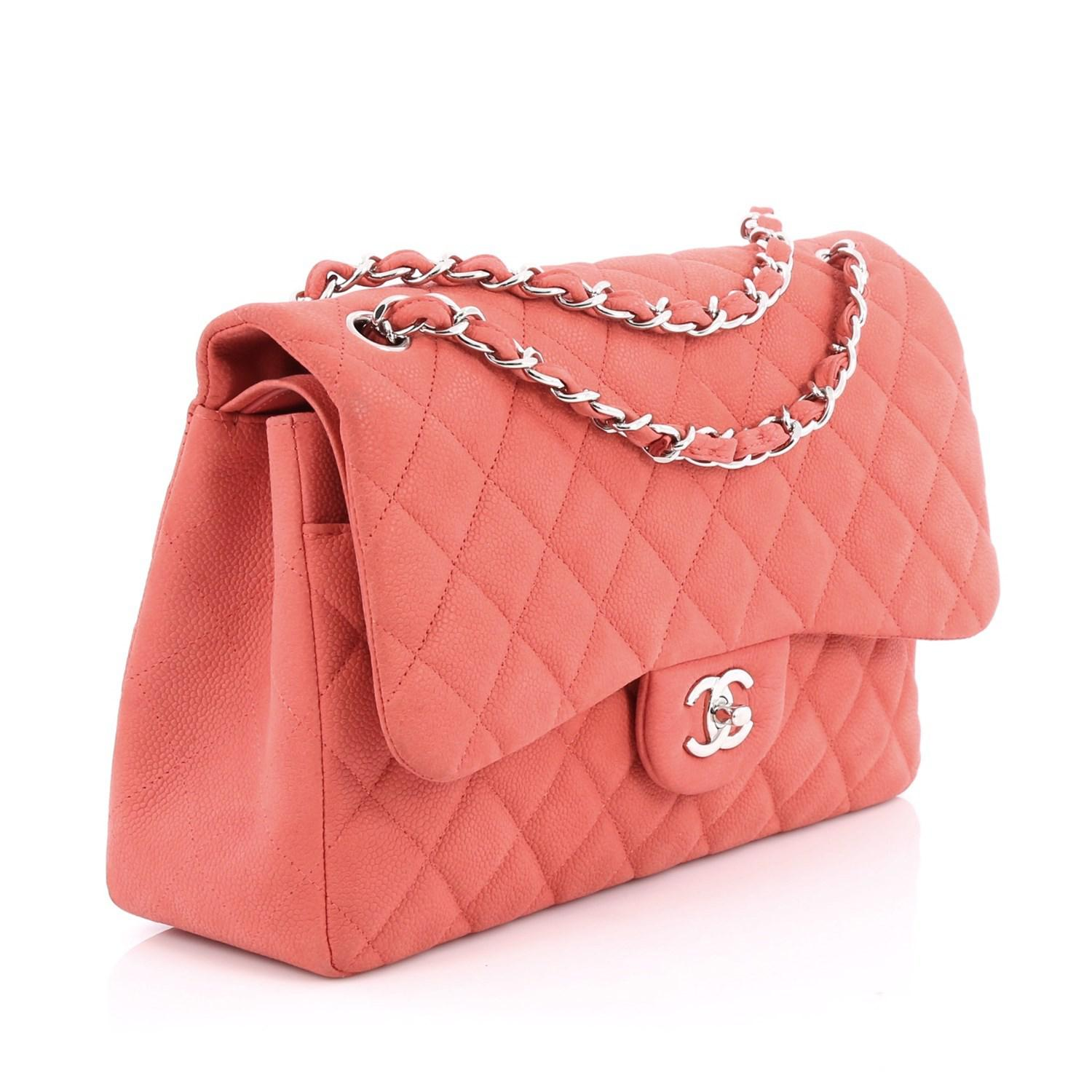 ac7f9f0019eb Lyst - Chanel Classic Double Flap Bag Quilted Matte Caviar Jumbo in Pink
