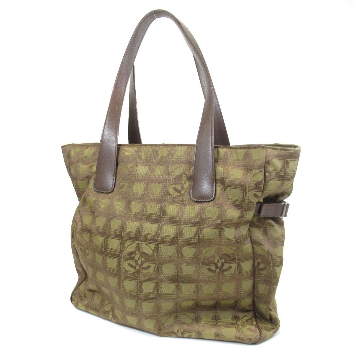 1a07581019ea Lyst - Chanel Nylon Jacquard Tote Bag New Travel Line in Green
