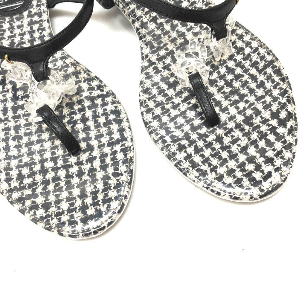 145855831cd185 Lyst - Chanel Cc Tweed Pattern Shoes Tongue Sandals Sandals Black ...