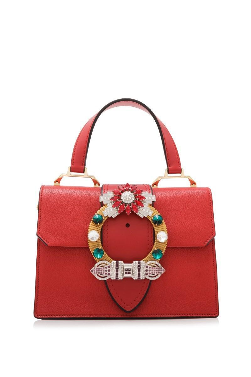 125208e94db Lyst - Miu Miu Cartella Top Handle Bag in Red