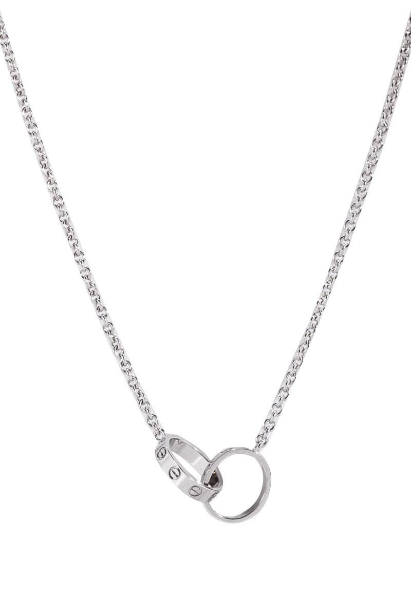 b79fbbd56b8 Lyst - Cartier Pre-owned Infinity Double Ring Necklace in Metallic