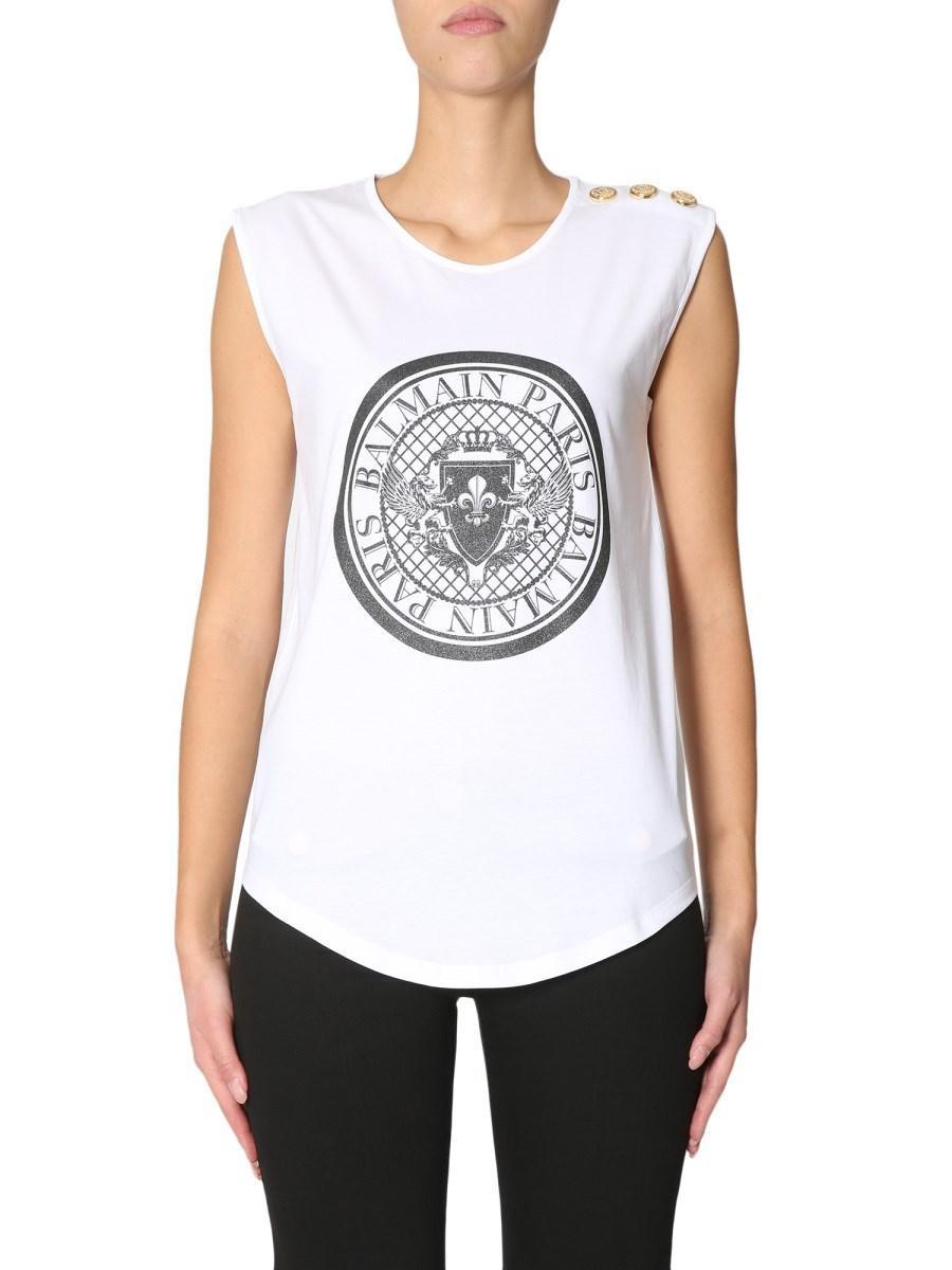 69374311b27aae Lyst - Balmain Women s 148105i001c5207 White Cotton Tank Top in White