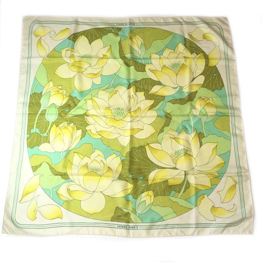 Herms square lotus flowers silk ivory yellow and green in herms womens white square lotus flowers silk izmirmasajfo
