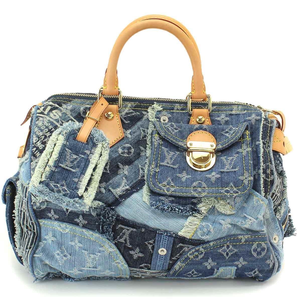 49d405e2e75f Lyst - Louis Vuitton Monogram Denim Patchwork Speedy 30 Hand Bag ...