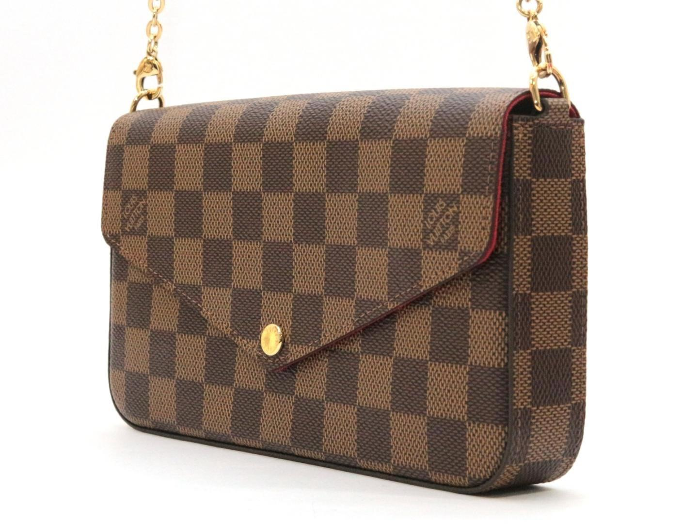 334b5232d9f8 Lyst - Louis Vuitton Damier Ebene Pochette Felicie Chain Clutch With ...