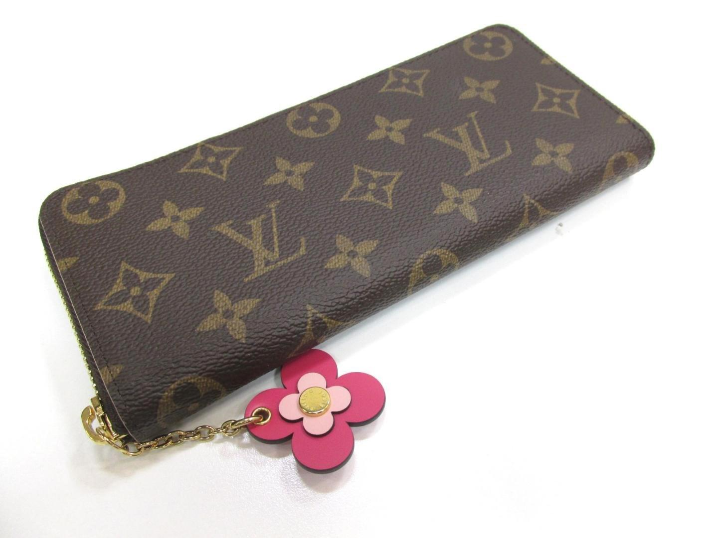 buy popular 1387c 49380 Women's Brown Portefeuille Clemence Wallet With Charm Monogram Canvas M64201