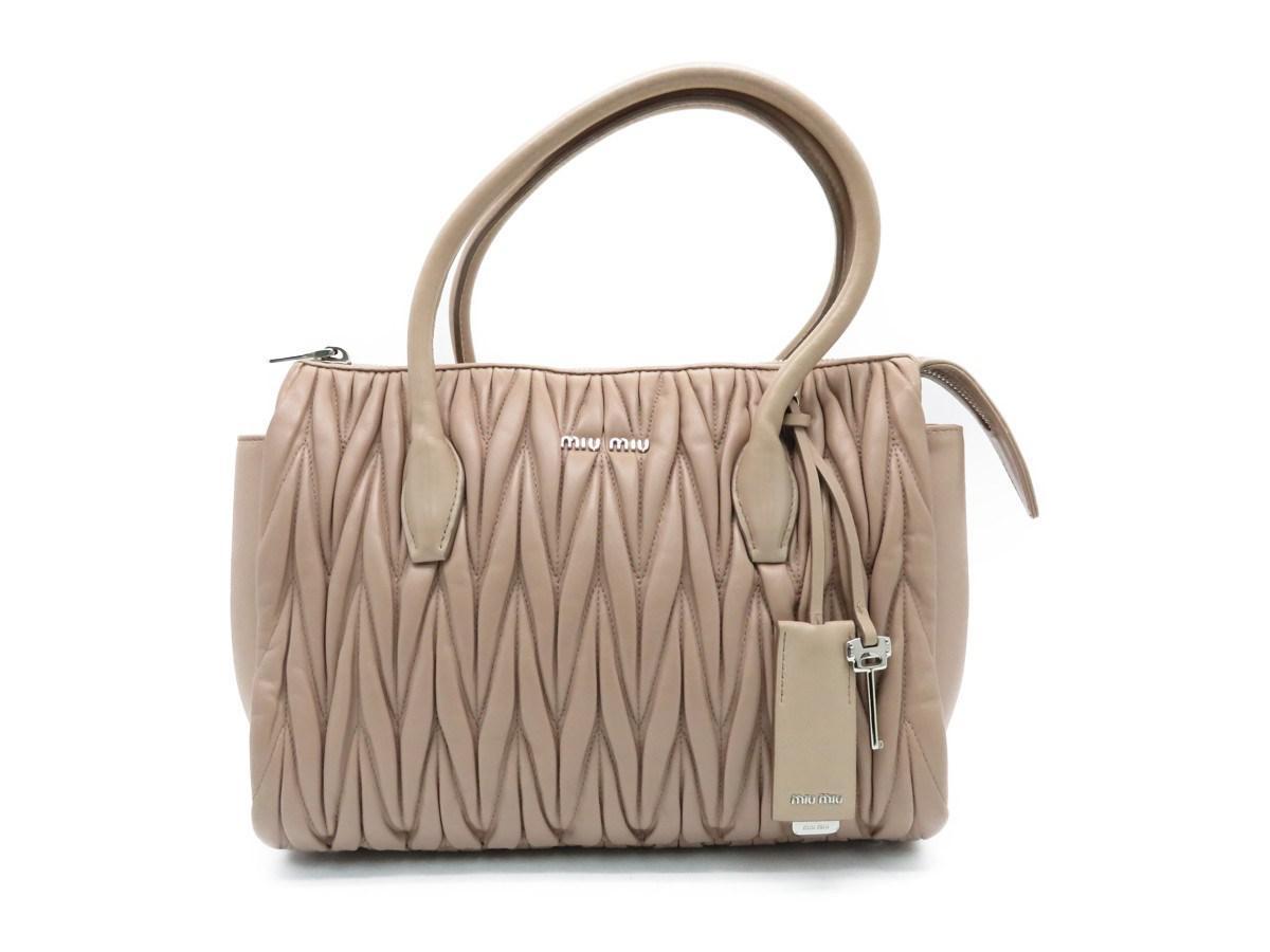 15ae3251a0 Lyst - Miu Miu Calfskin Leather Shoulder Tote Bag Nude 7338 in Brown
