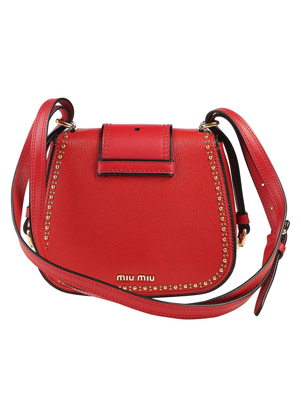 23f6c6195482 Lyst - Miu Miu Dahlia Embellished Shoulder Bag in Red