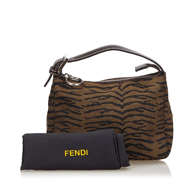 dfc61e5153af Lyst - Fendi Tiger Print Jacquard Handbag in Brown