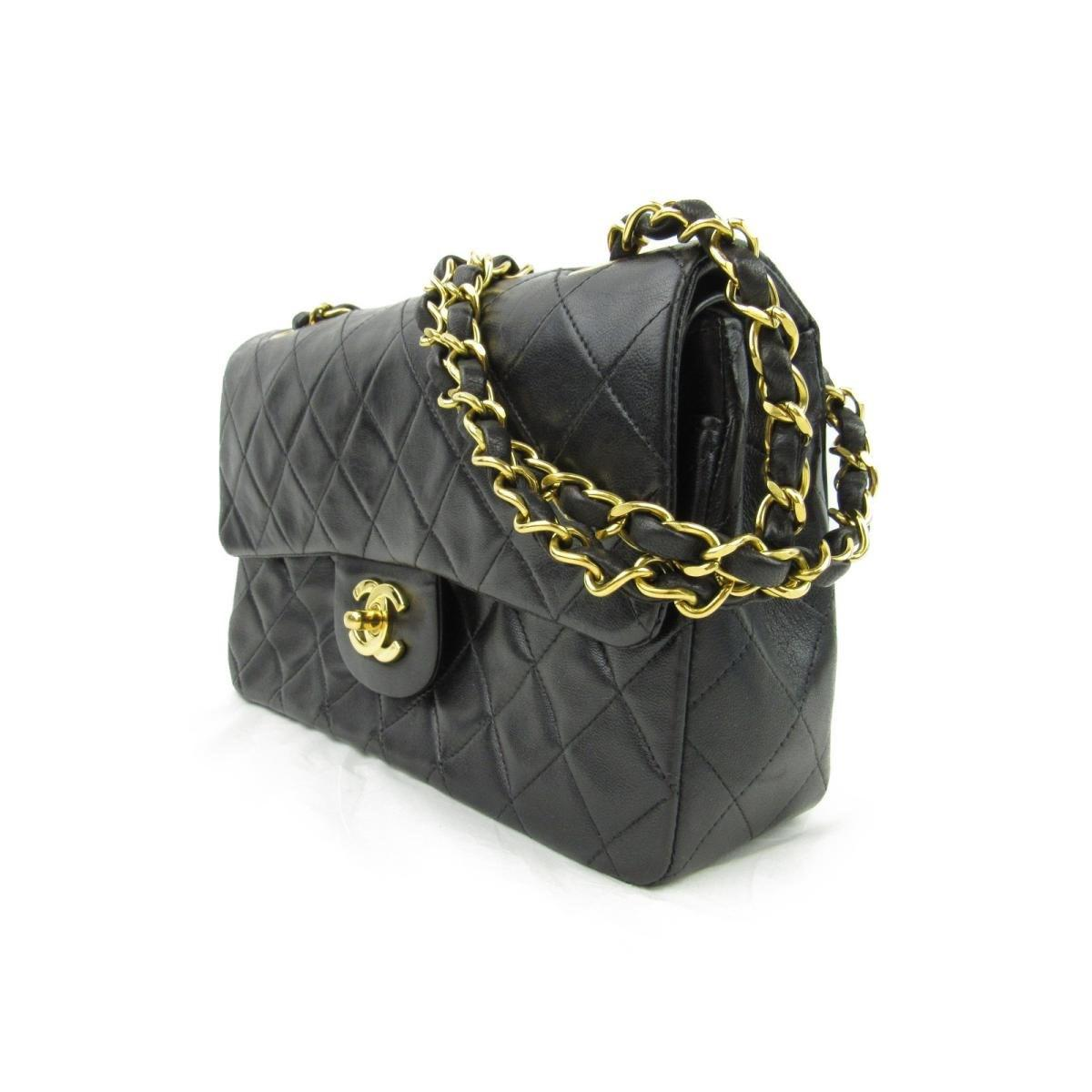 7f4e50541b06c3 Lyst - Chanel Authentic Lambskin Matelasse W Flap Chain Shoulder Bag ...