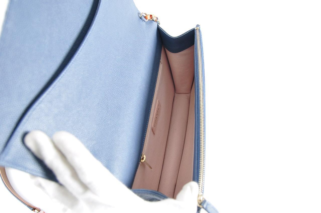 198837f045b5 Chanel A93663y61153 Large Calf Seasonal Flap In Dark Blue With ...