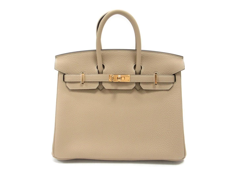 3b430285ce29 Lyst - Hermès Birkin 25 Handbag Totebag Togo Leather Trench Beige in ...