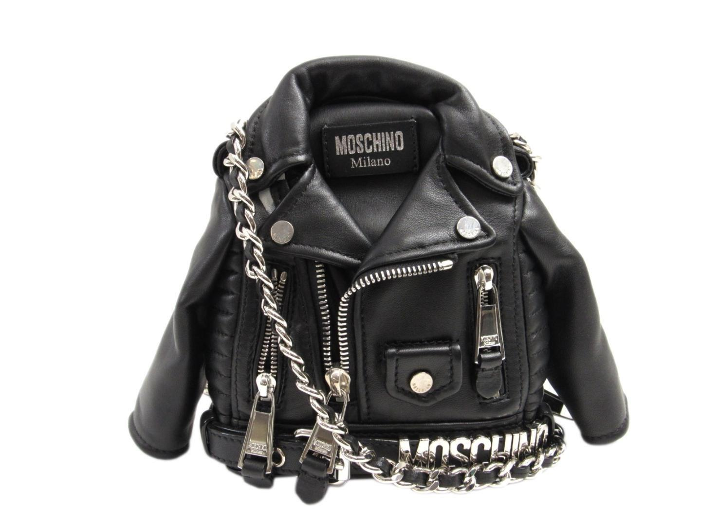 8f5d27950 Moschino Chain Shoulder Crossbody Bag Leather Black Riders Jacket