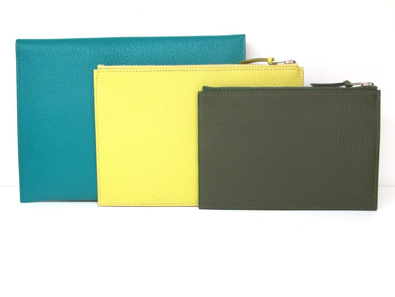c19376241e93 Lyst - Hermès Envelope Trio Duo Pouch Chevre Leather Green Yellow ...