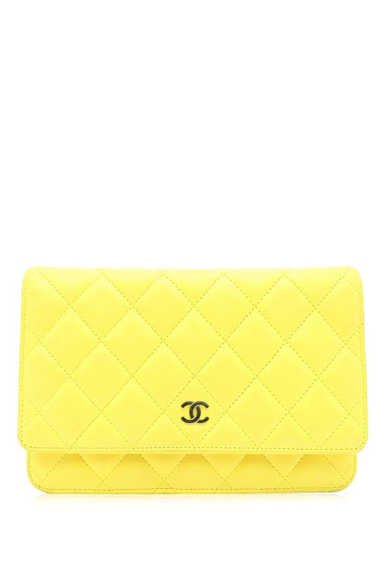 8e308709a5ad Lyst - Chanel Quilted Lambskin Leather Wallet On Chain Shoulder Bag ...