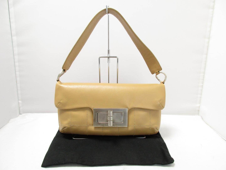 1e50862f0c6a Lyst - Chanel Chocolate Bag One Shoulder Bag Lambskin Leather Beige ...