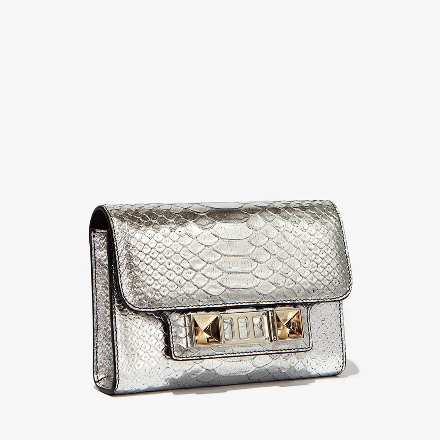 Ps11 Wallet with Strap in Silver Metallic Linosa Leather Proenza Schouler qWxiPjFQT