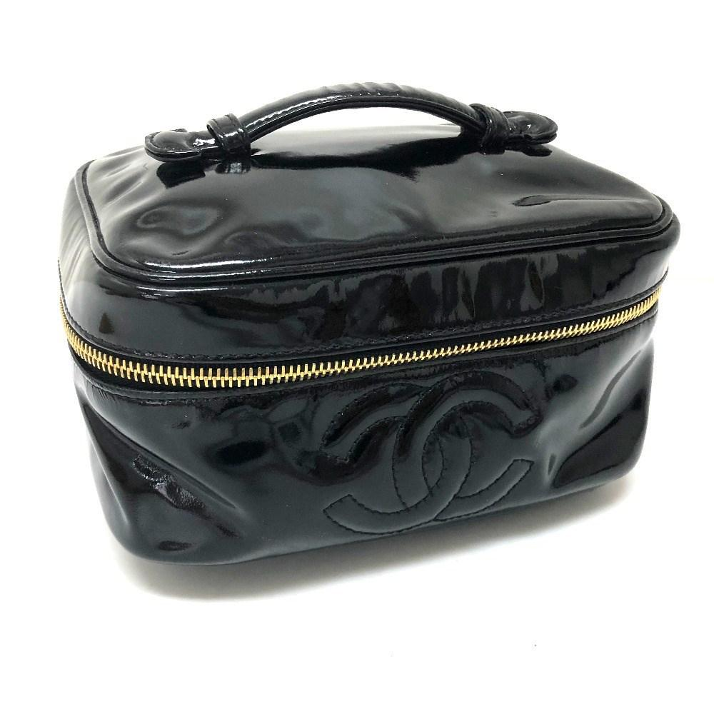 19d19ee5bc9f36 Chanel Vanity Bag Cosmetics Pouch Makeup Pouch Hand Bag Black Patent ...