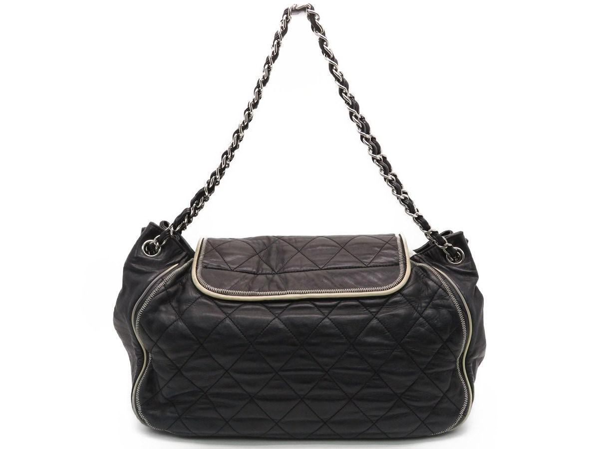 d4a6e3c2bbf943 Lyst - Chanel Quilted Lambskin Leather Shoulder Bag Dark Blue 4868 ...