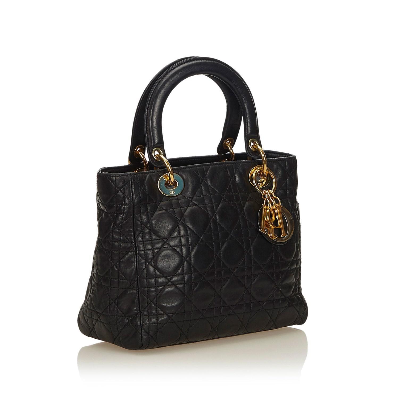 Dior - Black Cannage Lady Handbag - Lyst. View fullscreen d320400c4554c