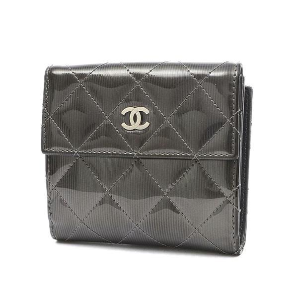 a5f2089e1fac Lyst - Chanel Coco Mark Stripe Double Sided Wallet Patent Metallic ...