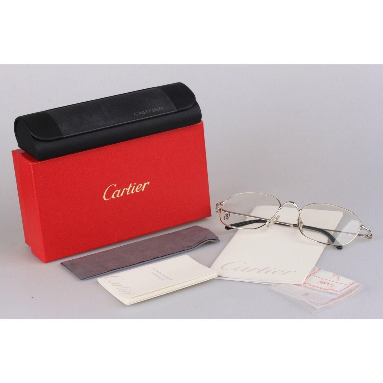 1730caf1b0 Cartier Paris Vintage Eyeglasses Vesta Platinum 56-21 140mm Nos in ...