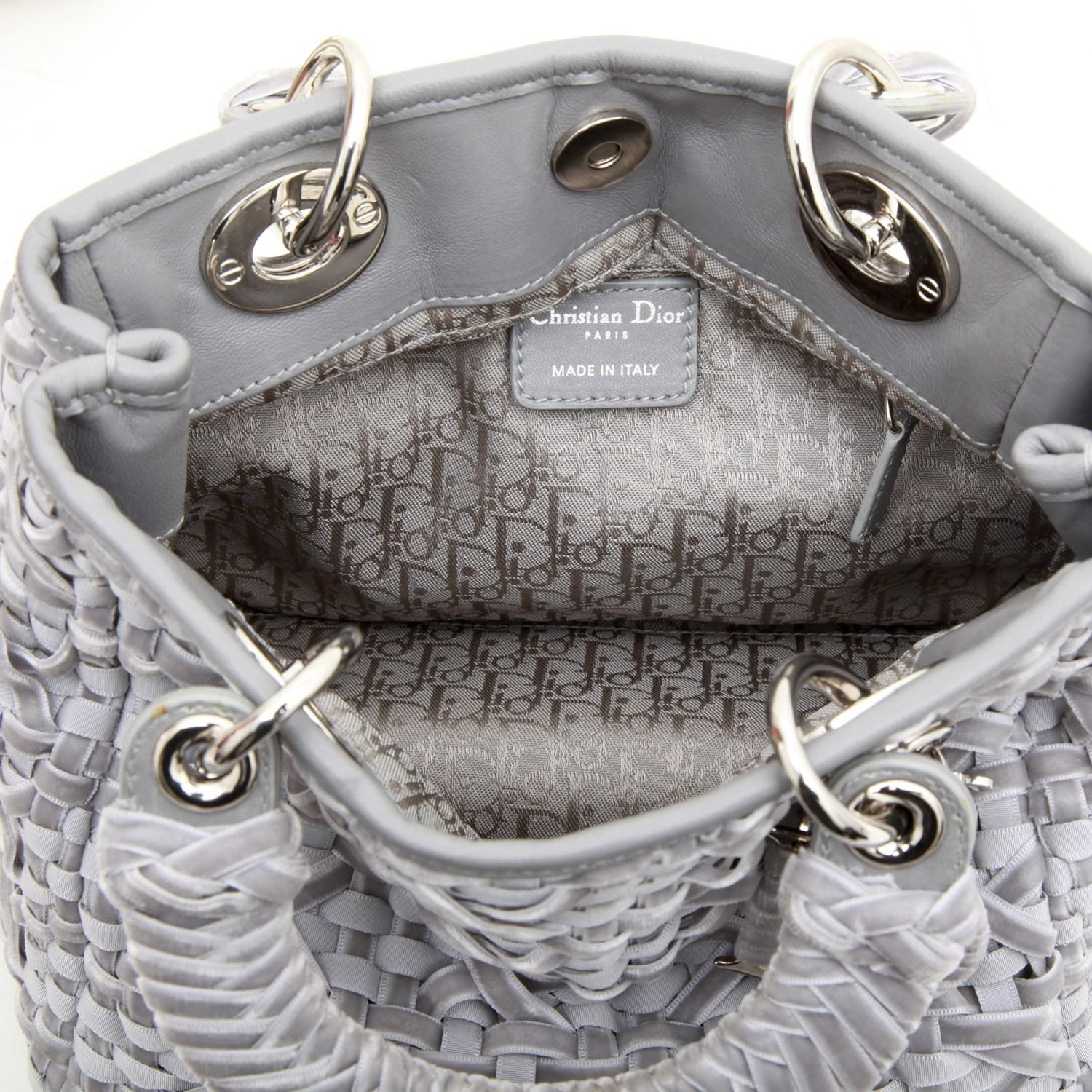 Dior Lady D Bag In Gray Woven, Cotton And Leather Ribbons