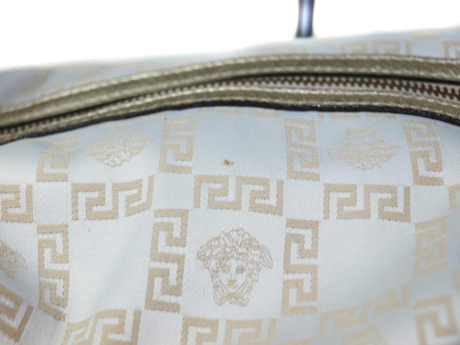 f44285fc641 Lyst - Versace Auth Ivory Canvas Gold Leather Shoulder Bag in Metallic