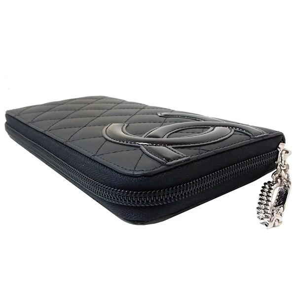 4b7776304707 Lyst - Chanel Round Fastener Long Wallet Cambon Matelasse Black Pink ...