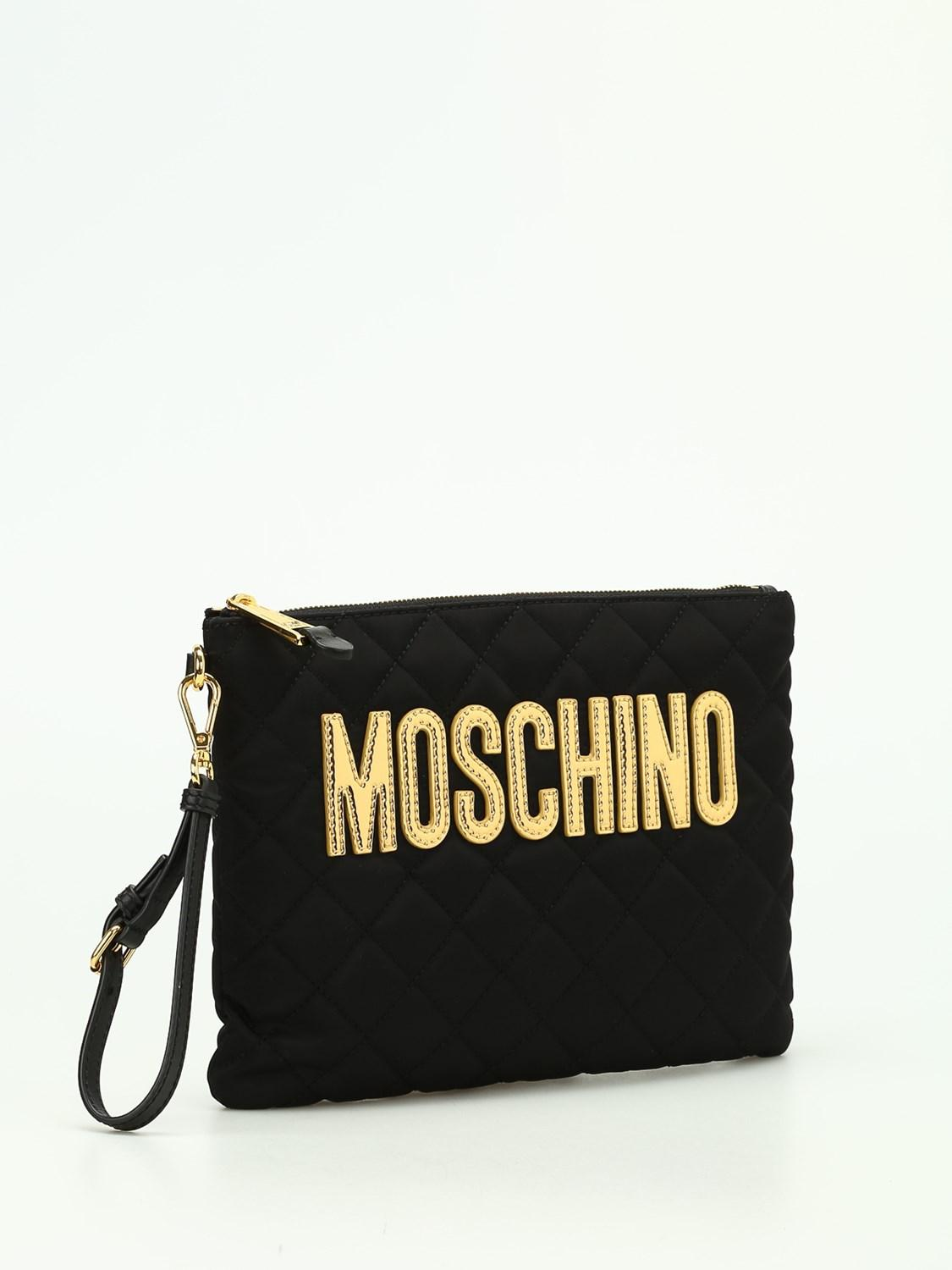 028e407f92 Lyst - Moschino Quilted Nylon Clutch in Black