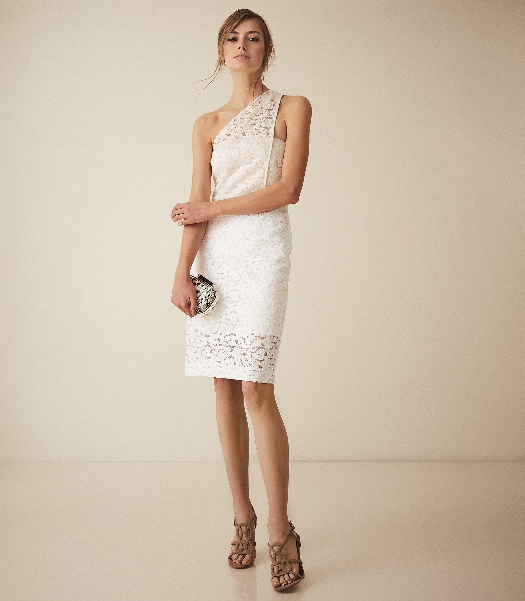 6331a88d27f30 Lyst - Reiss Sophia - One Shoulder Lace Dress in White