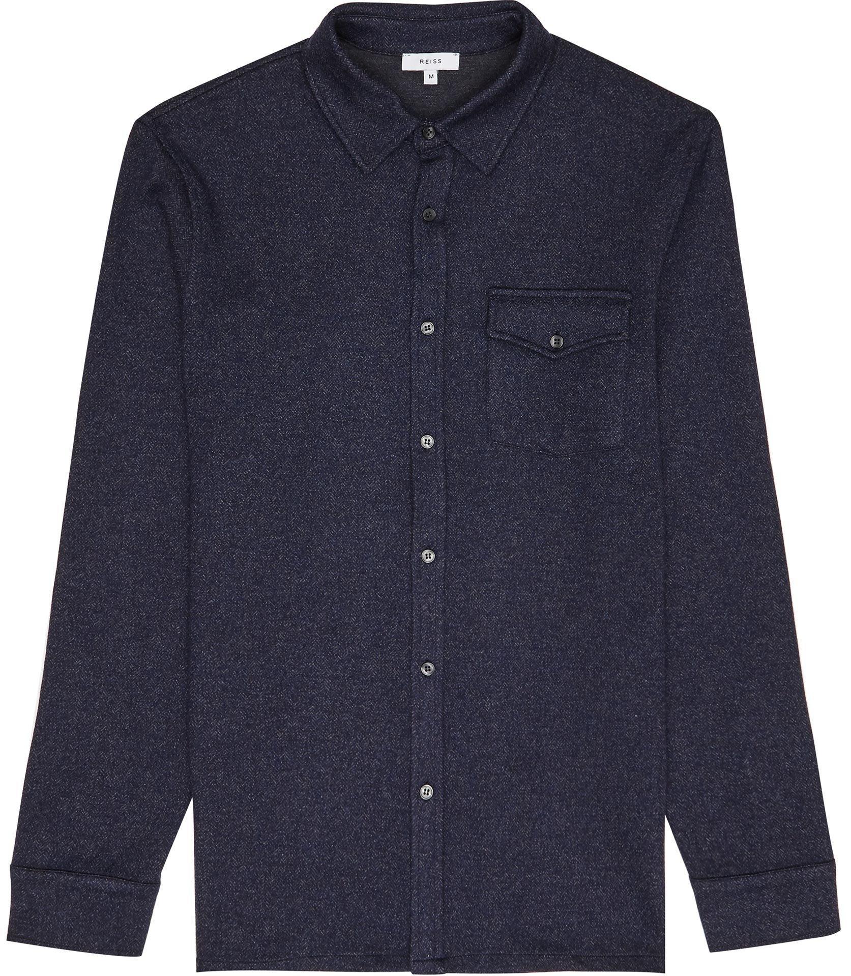 Reiss Denim Somerset - Herringbone Overshirt in Navy (Blue) for Men