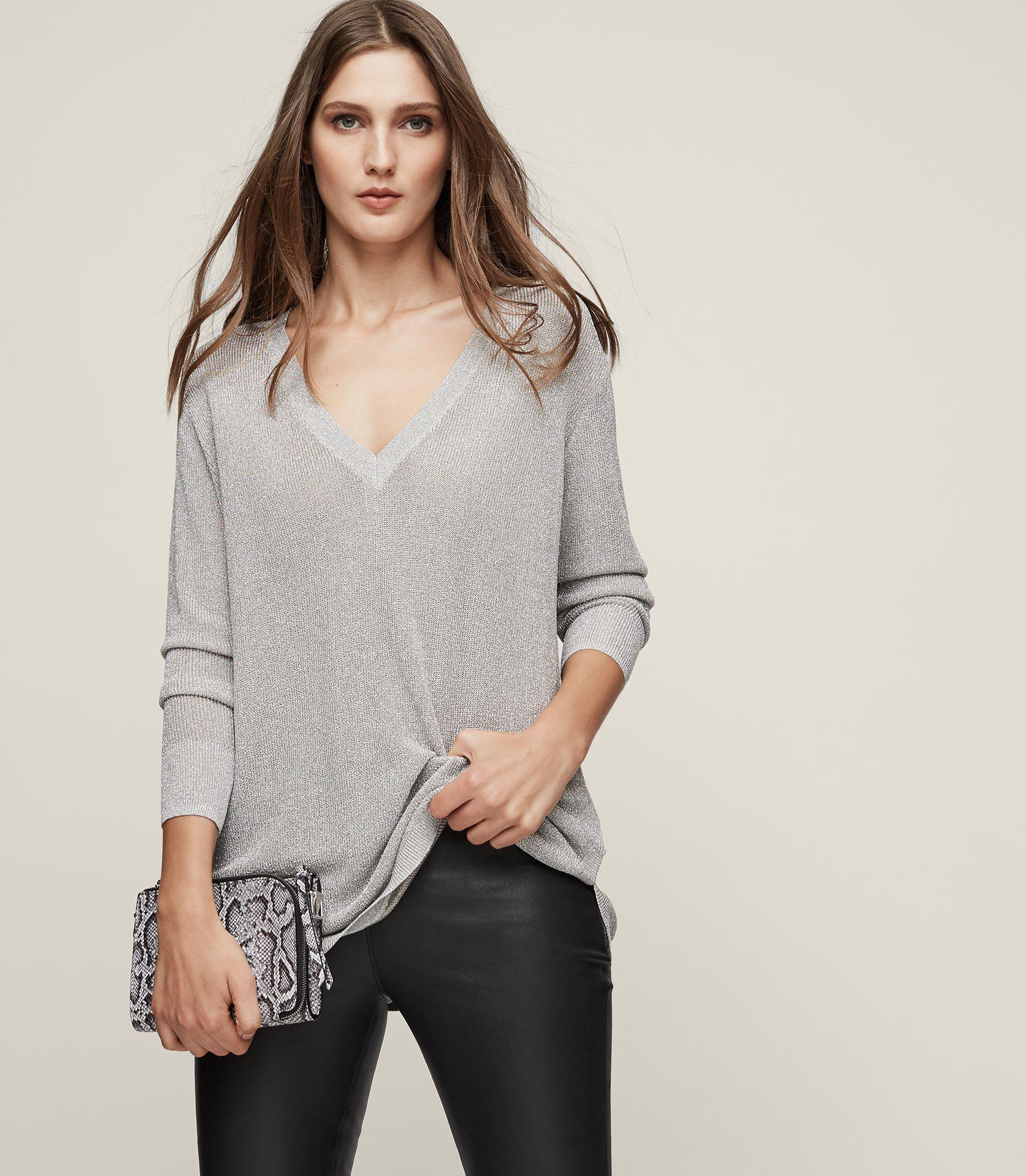 Reiss Leather Bless in Silver (Metallic)