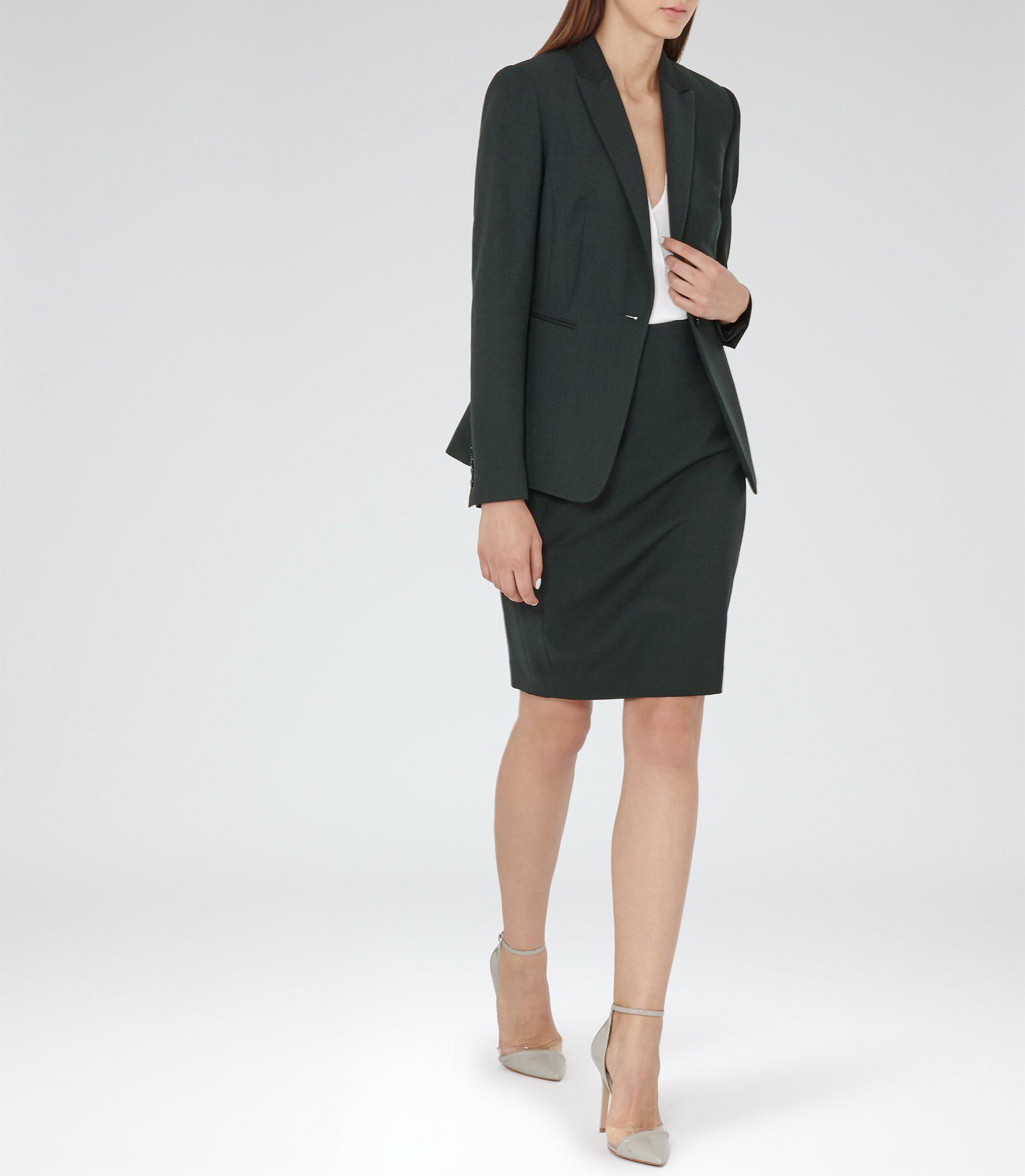 Reiss Synthetic Pinetta Skirt in Olive (Natural)