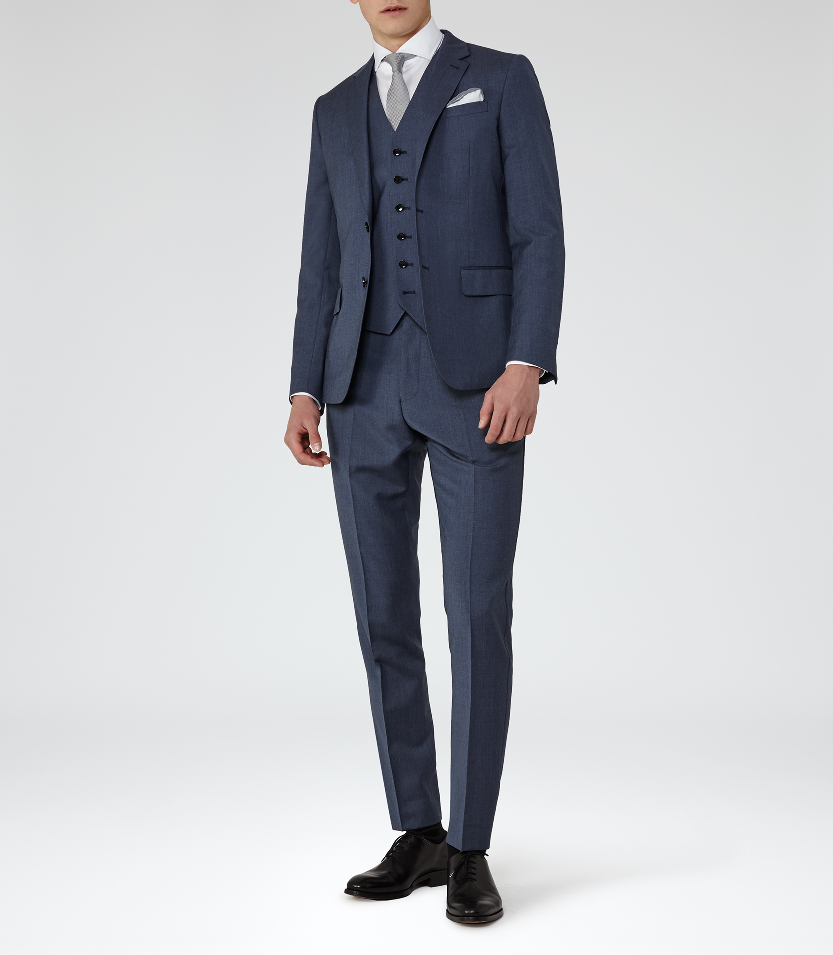 Reiss Wool George T Slim-fit Tailored Trousers in Blue for Men