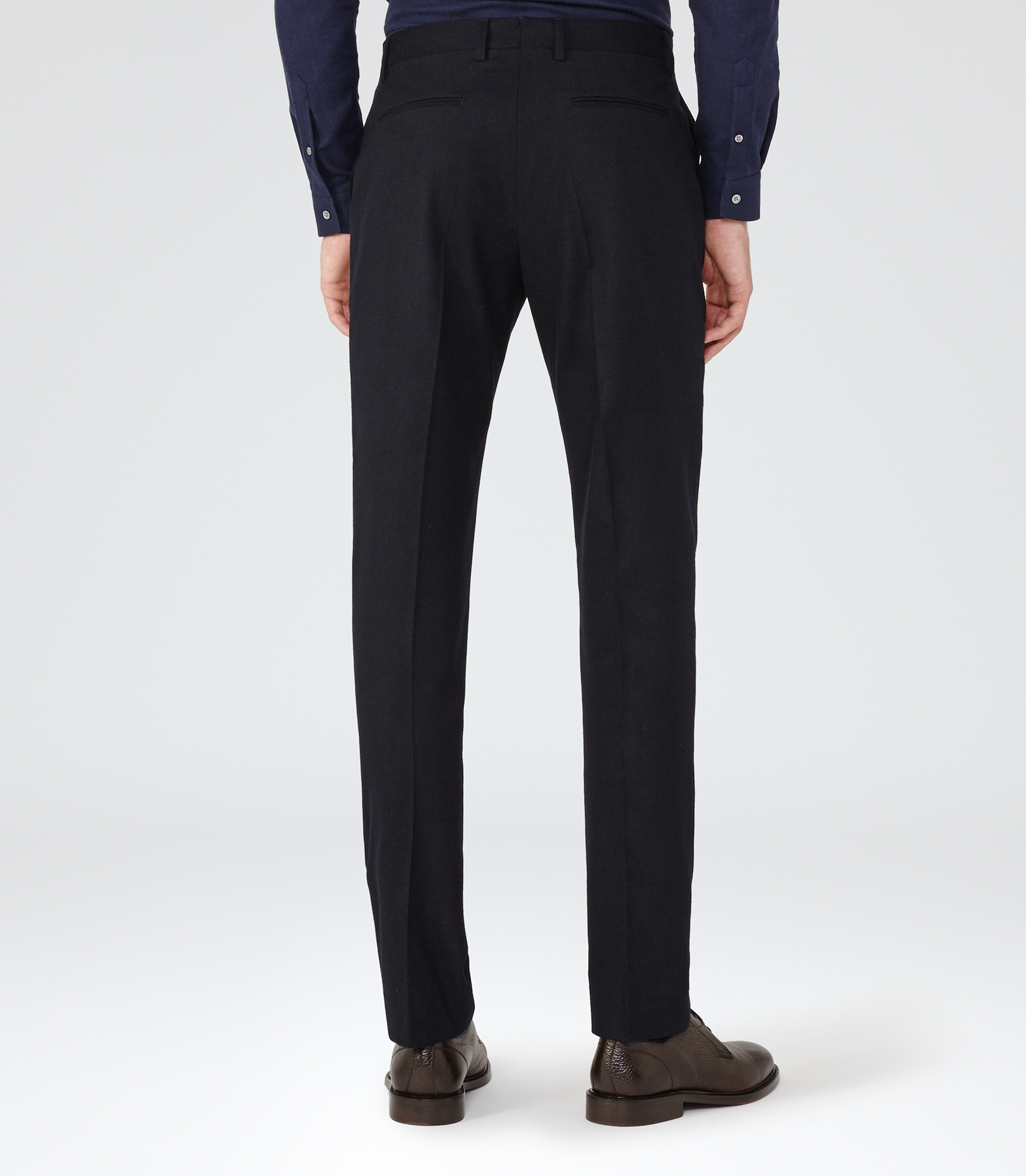 Reiss Synthetic Boston Slim-fit Tailored Trousers in Navy (Blue) for Men