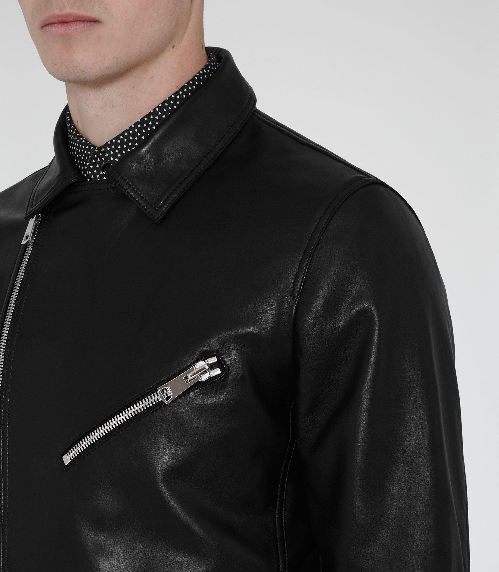 Reiss Leather Faubourg in Black for Men