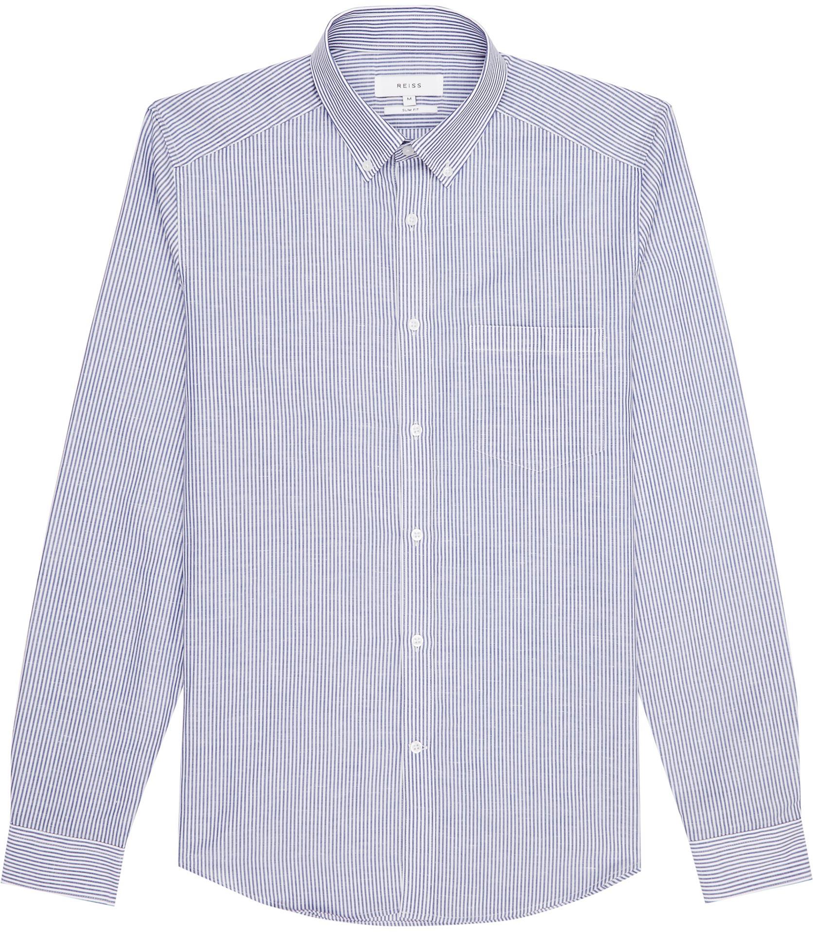 Reiss garcia stripe button down shirt in blue for men lyst for Striped button down shirts for men