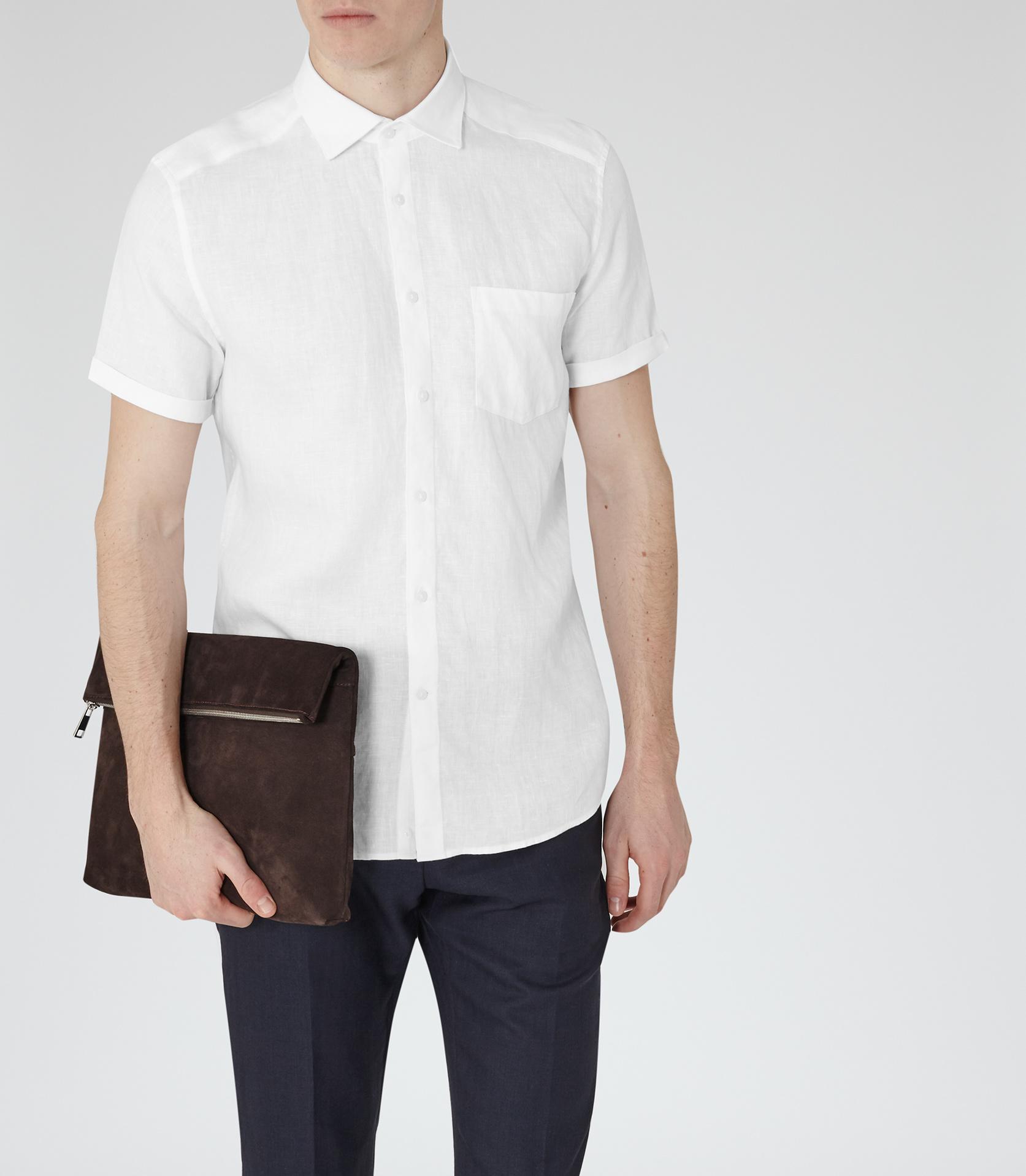 Lyst reiss frank short sleeve linen shirt in white for men for Short sleeve linen shirt