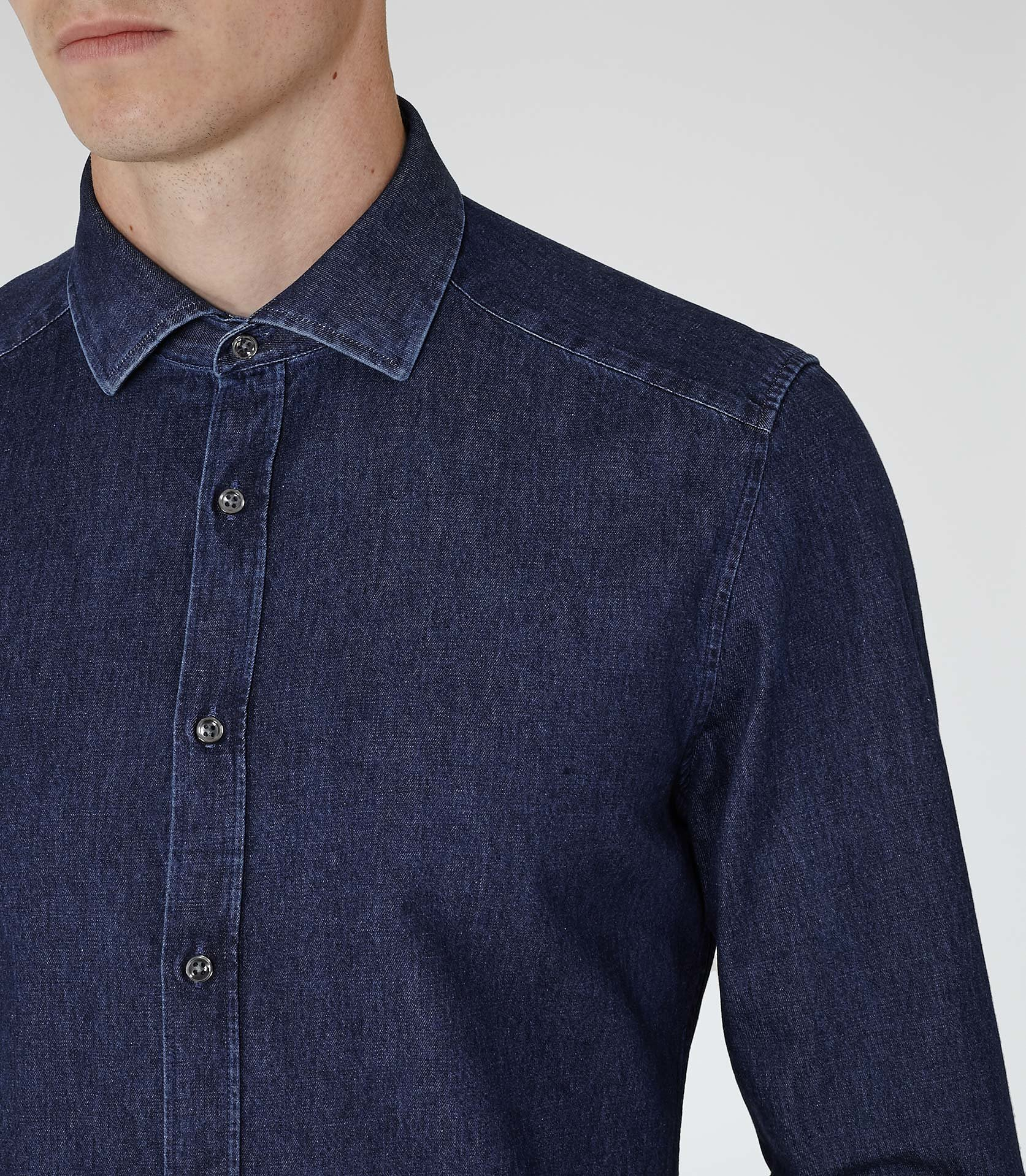 Reiss Novascotia Slim Denim Shirt in Night Navy (Blue) for Men