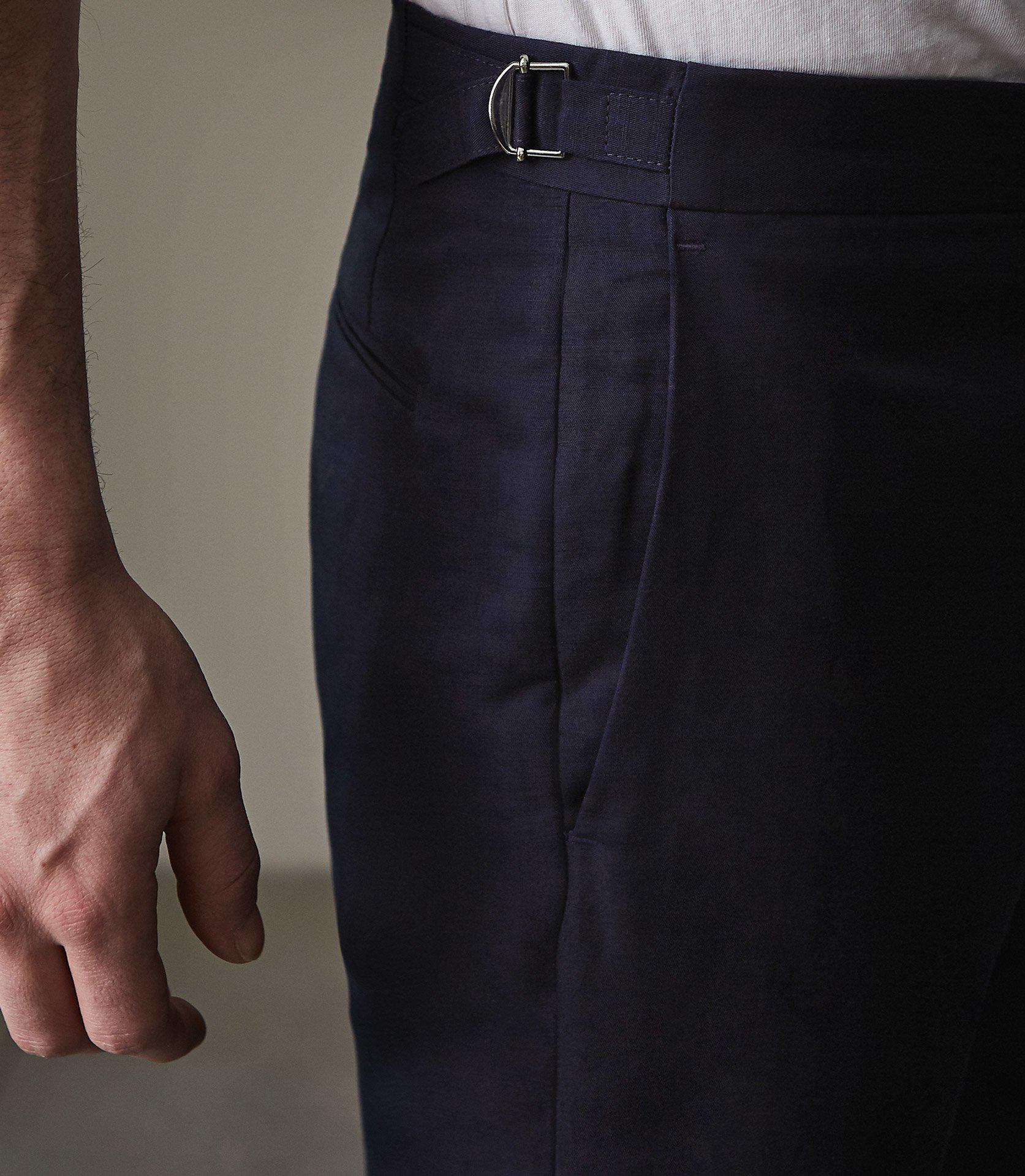 Reiss Linen Cheque in Navy (Blue) for Men
