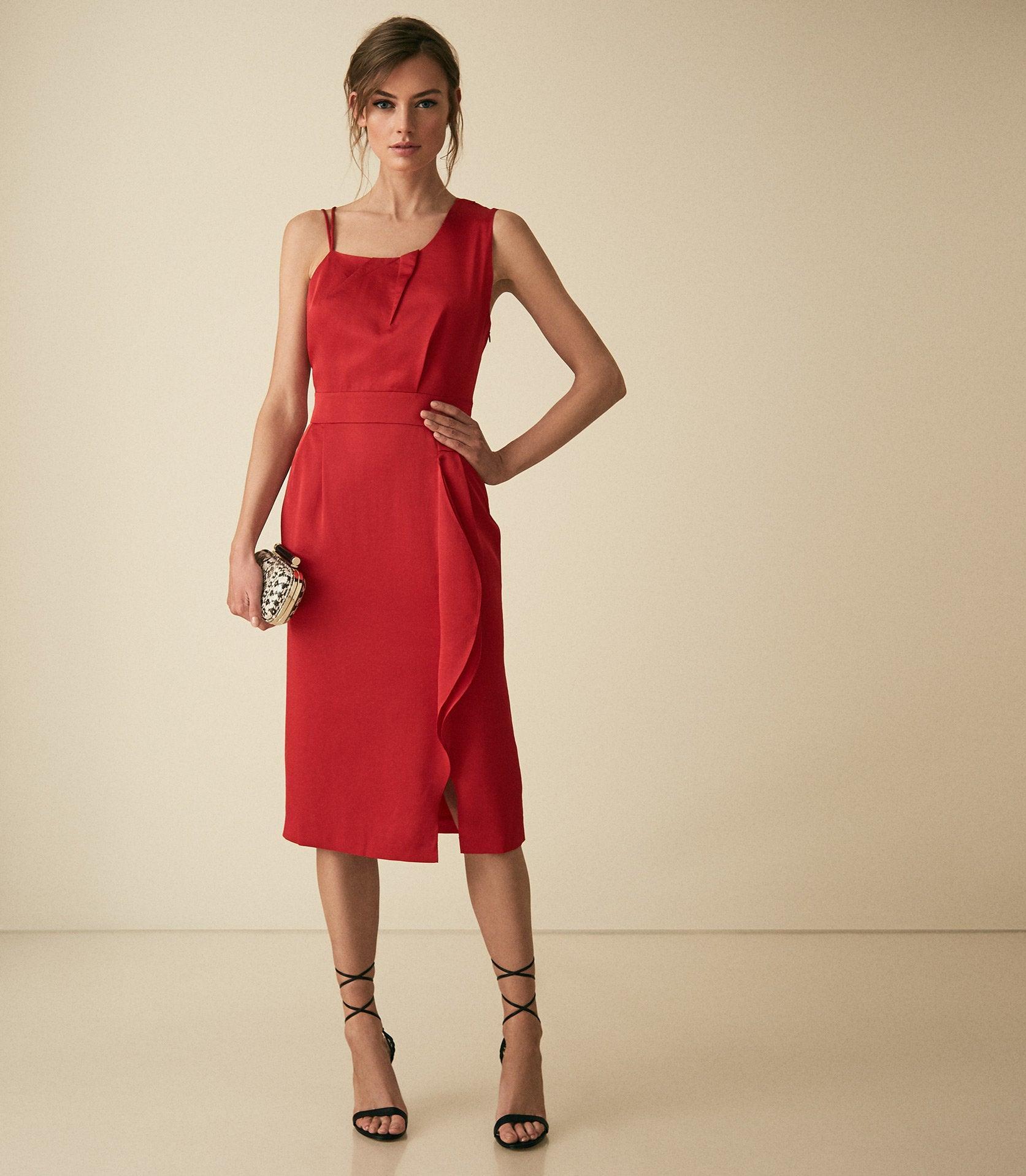 One Shoulder Red Cocktail Dress
