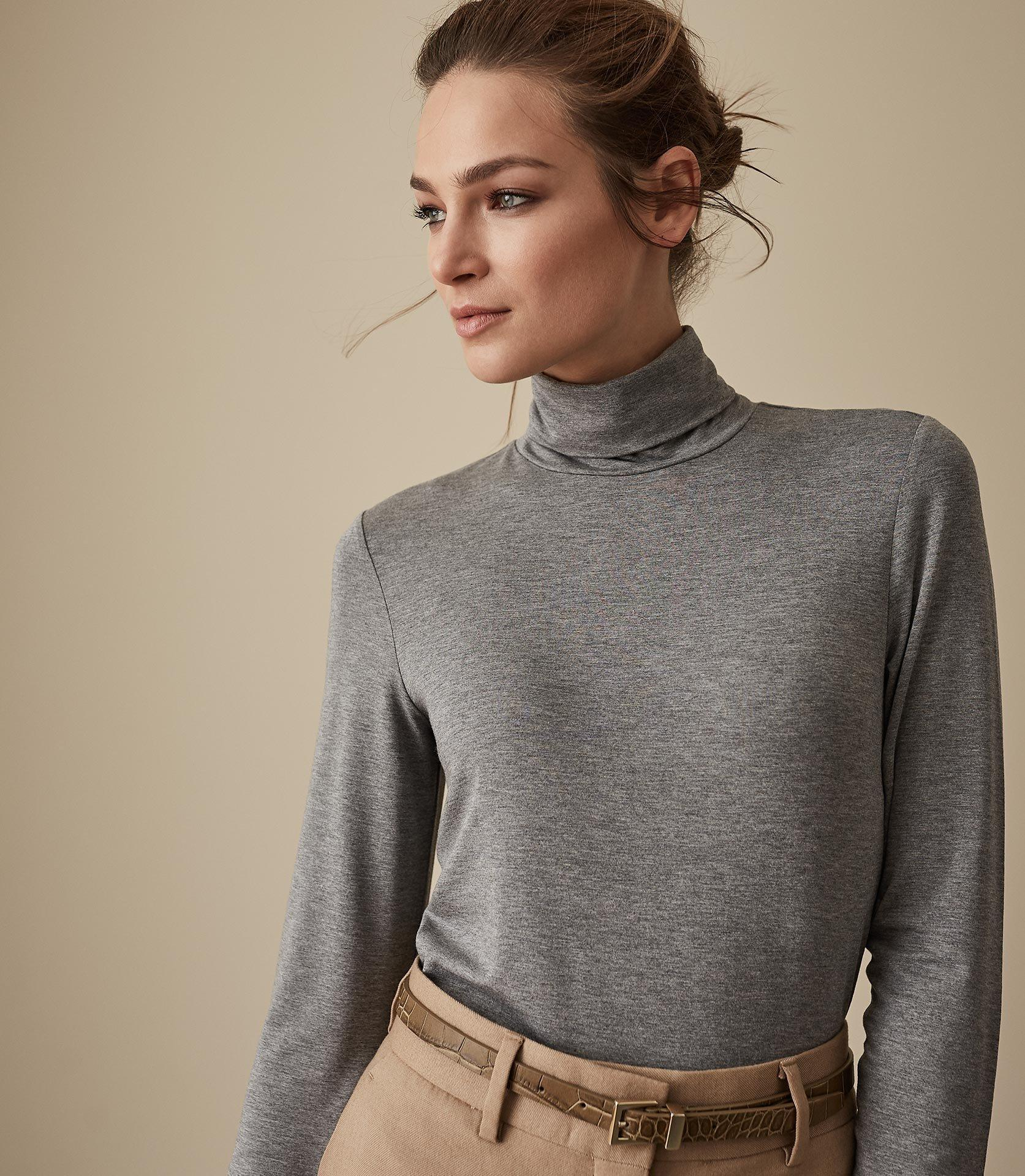 739b4637f1daad Lyst - Reiss Charlie - Jersey Rollneck Top in Gray