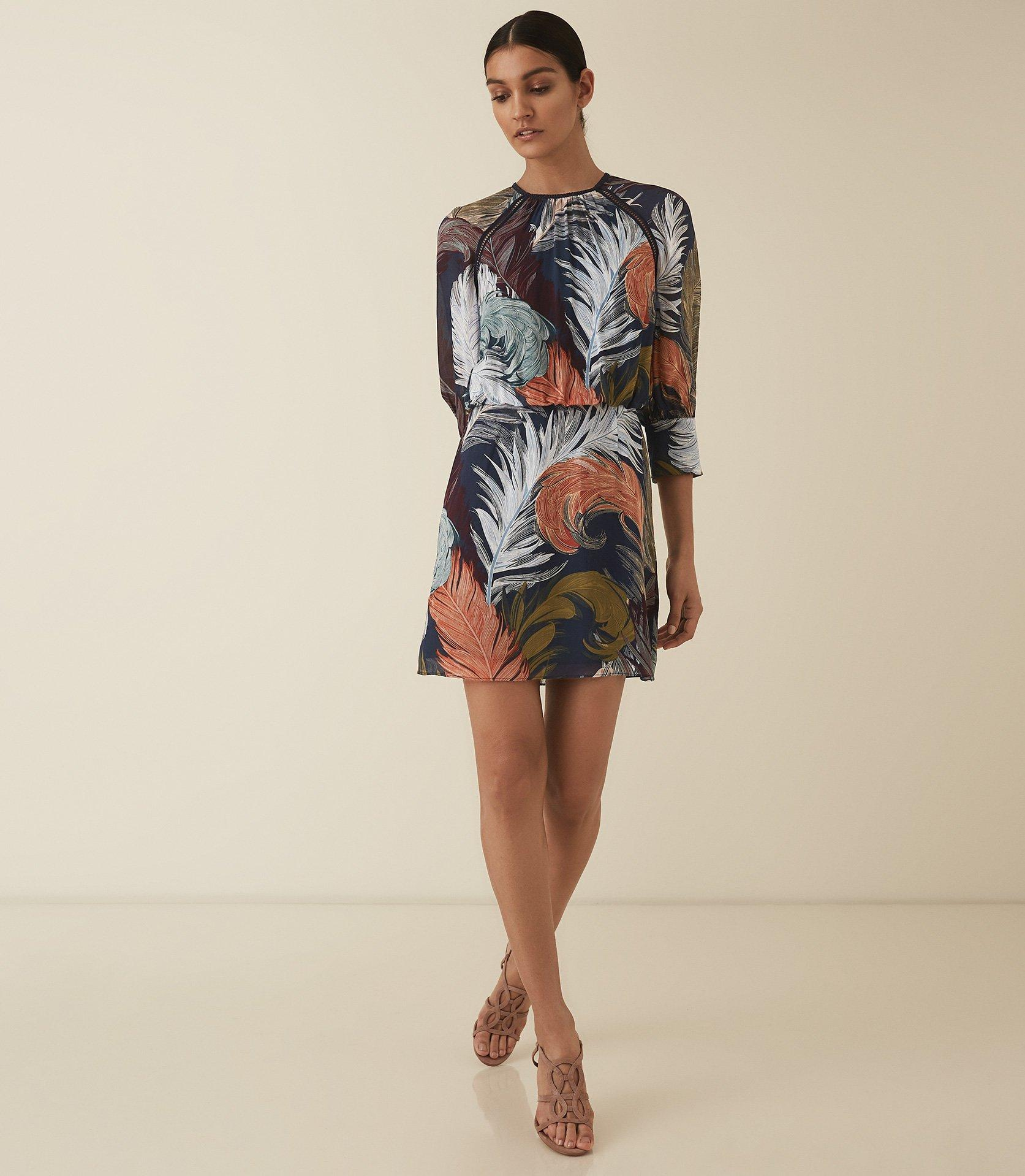 6e2fc25b72 Reiss Namina - Feather Printed Dress in Blue - Lyst