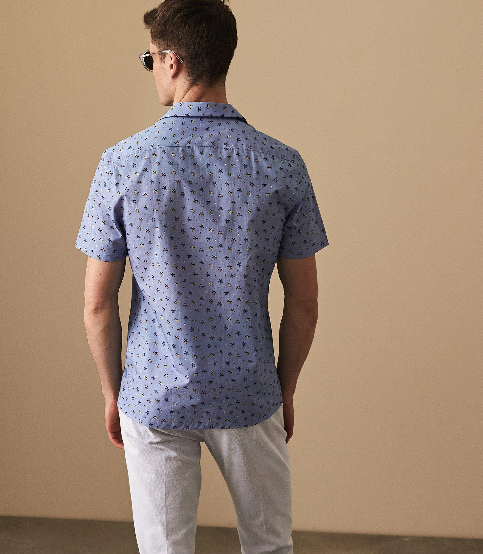 Reiss Cotton Cabanna - Starfish Print Shirt in Blue for Men
