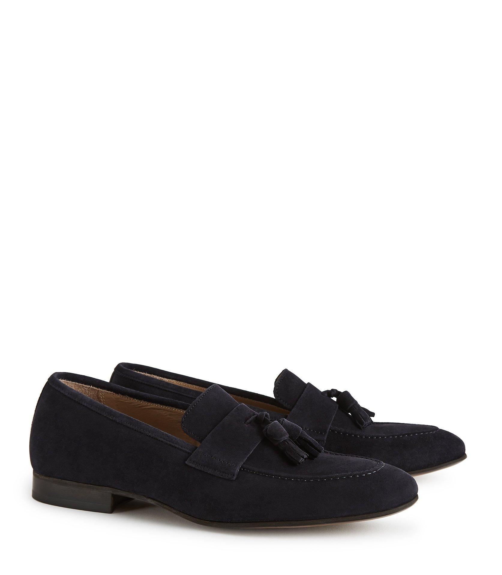 Reiss Thorpe - Suede Tassel Loafers in Navy (Blue) for Men