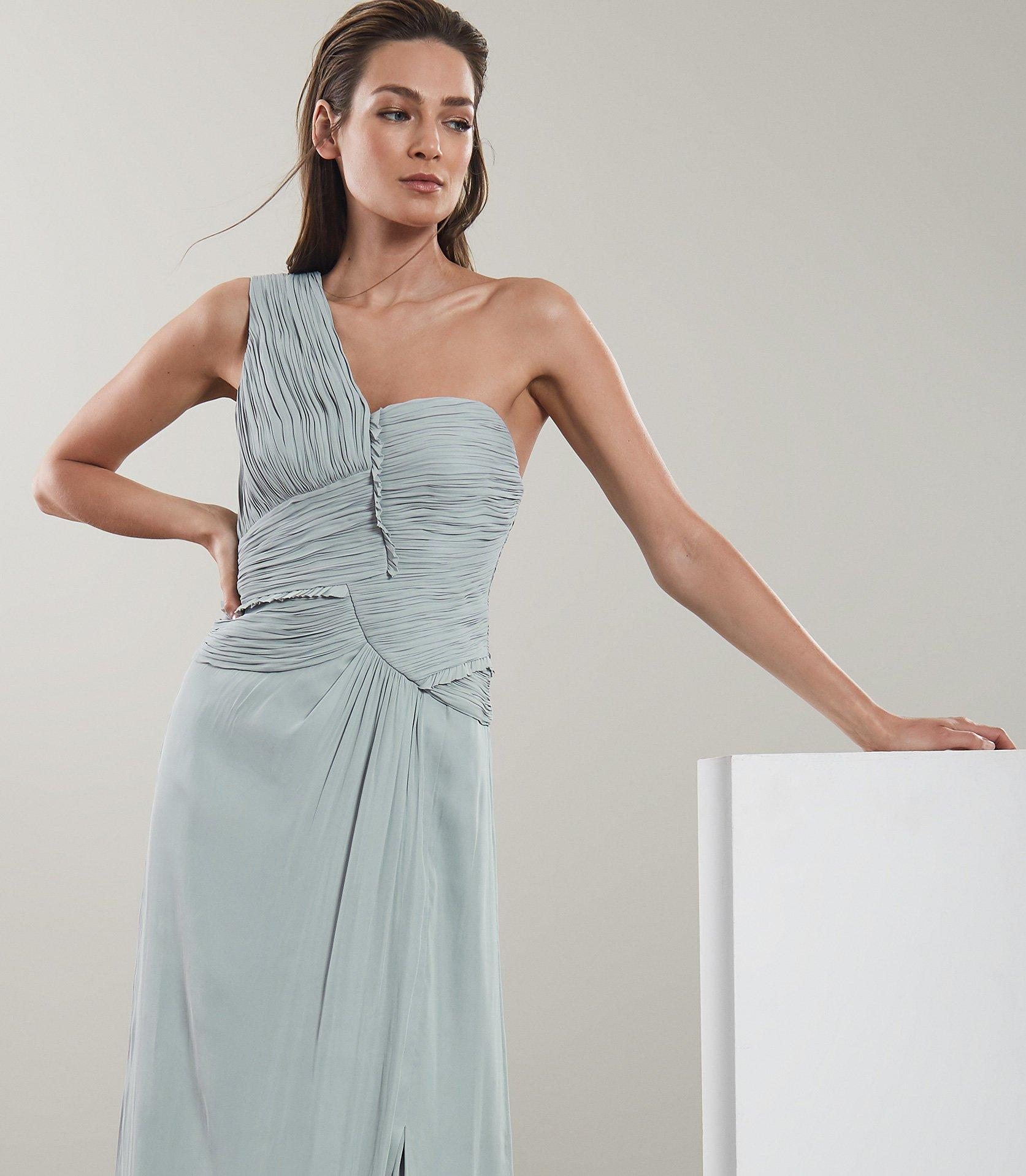 cheap prices on feet images of high quality Reiss Synthetic Abigail - One Shoulder Pleat Detail Maxi Dress - Lyst