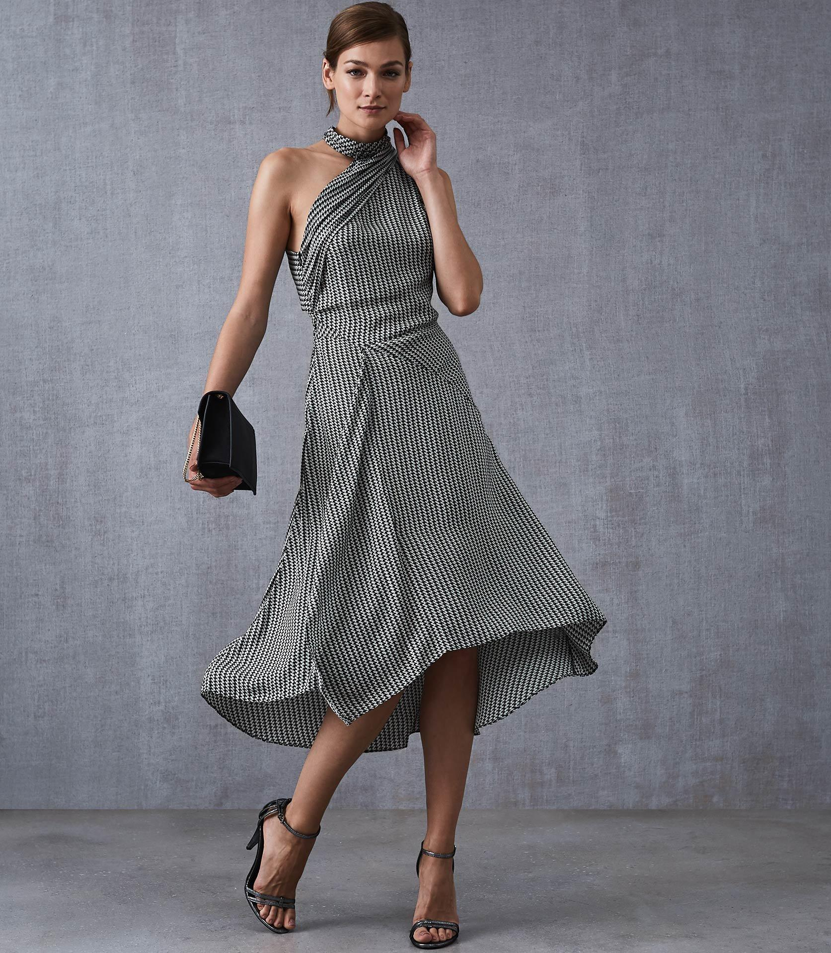 2e1087640b Reiss Adelia - Asymmetric Midi Dress in Gray - Lyst