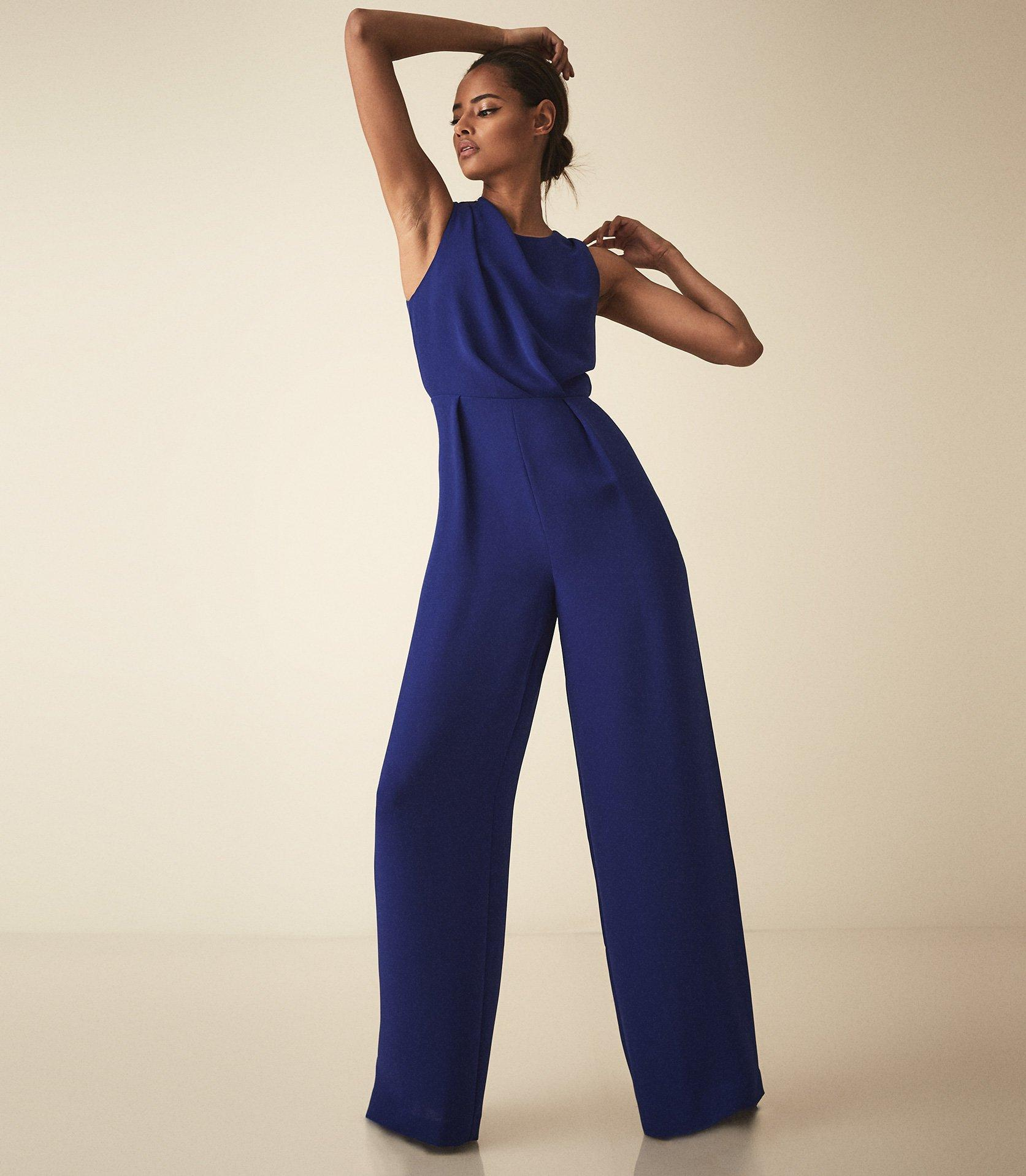 b8fcbcad1 Reiss Chey - Cut Out Detail Jumpsuit in Blue - Lyst